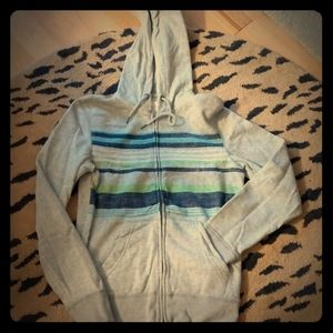 Blue and green stripe gray hoodie by Aeropostale